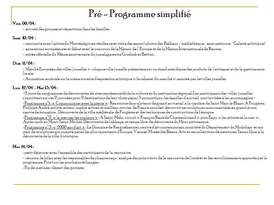 Pré - Programme simplifié Ven 09/04 : - accueil des groupes et répartition dans les familles. Sam 10/04 : - rencontre avec lartiste du Monténégro en r