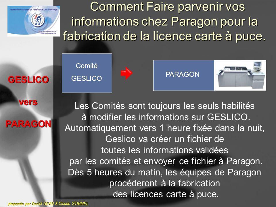 GESLICO vers PARAGON proposée par Daniel READ & Claude STIRMEL Comment Faire parvenir vos informations chez Paragon pour la fabrication de la licence carte à puce.