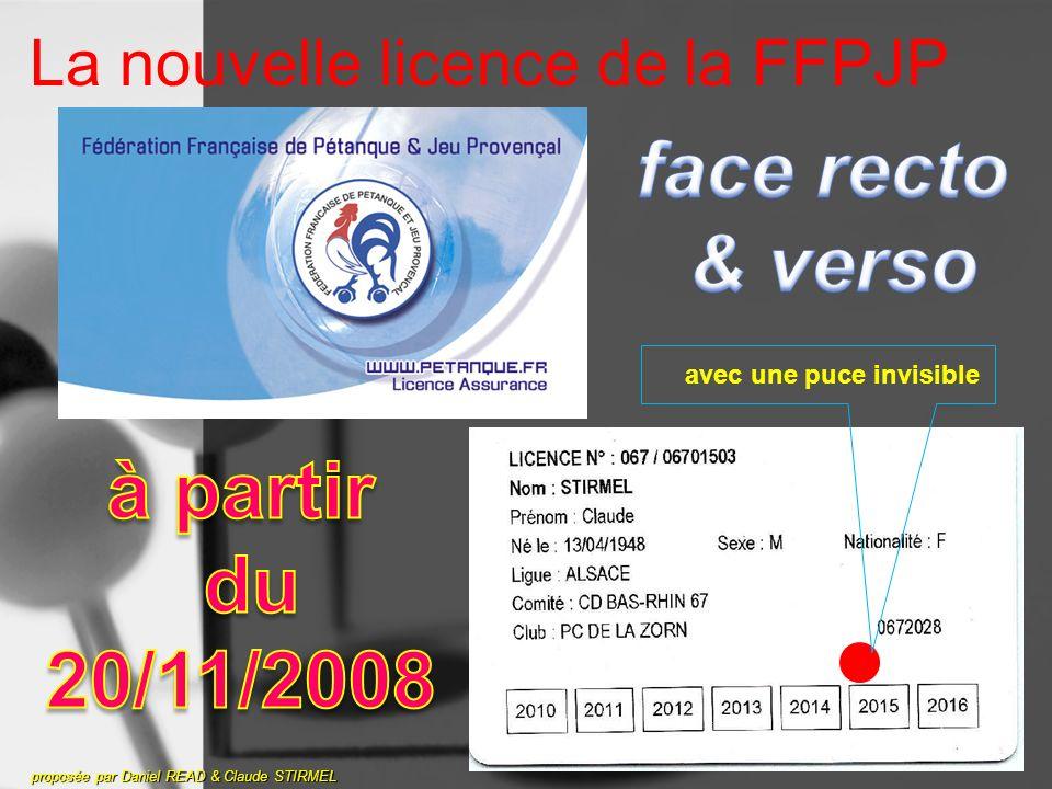 La nouvelle licence de la FFPJP proposée par Daniel READ & Claude STIRMEL avec une puce invisible