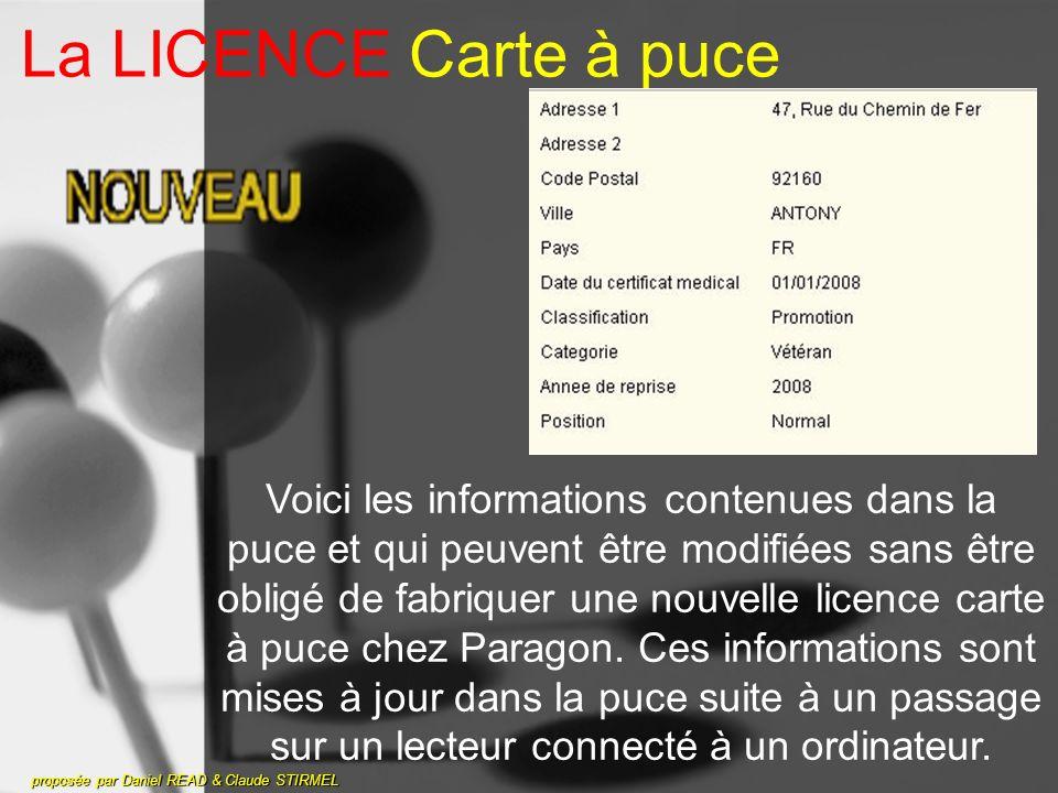 La LICENCE Carte à puce proposée par Daniel READ & Claude STIRMEL Voici les informations contenues dans la puce et qui peuvent être modifiées sans être obligé de fabriquer une nouvelle licence carte à puce chez Paragon.