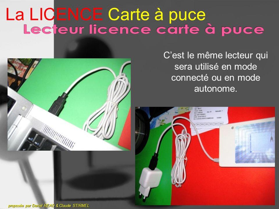 La LICENCE Carte à puce proposée par Daniel READ & Claude STIRMEL Cest le même lecteur qui sera utilisé en mode connecté ou en mode autonome.