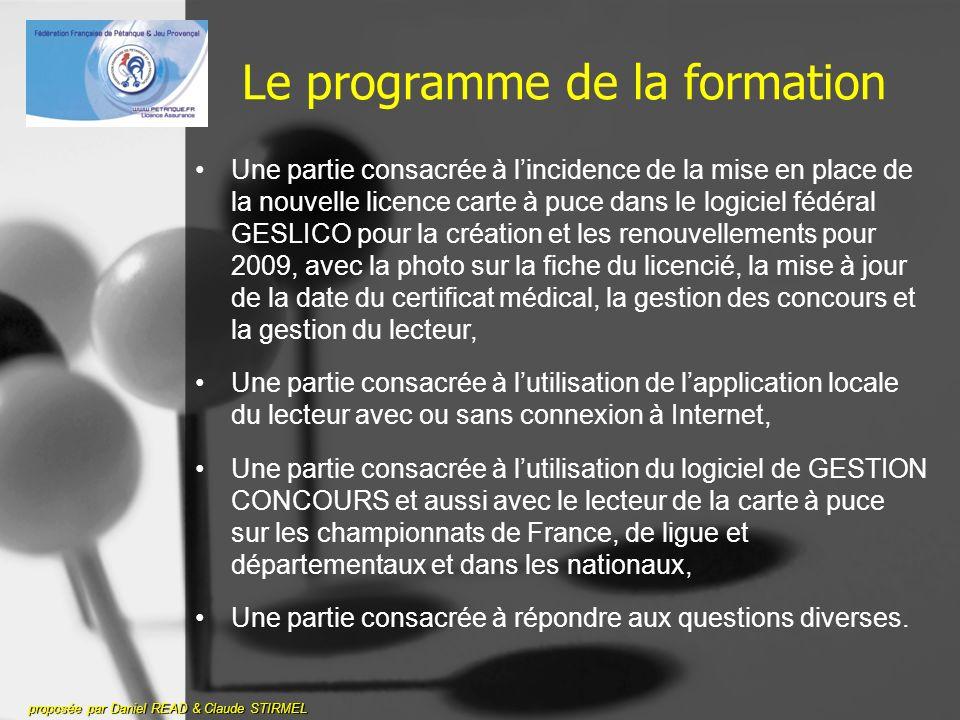 Avant de commencer - Rappel proposée par Daniel READ & Claude STIRMEL La licence carte à puce sera mise en place à partir du 20 novembre 2008