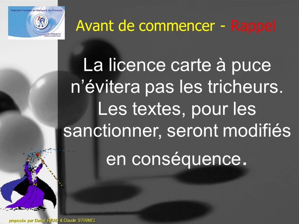 Avant de commencer - Rappel proposée par Daniel READ & Claude STIRMEL La licence carte à puce névitera pas les tricheurs.