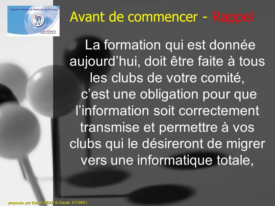 La nouvelle licence 2009 avec carte à puce proposée par Daniel READ & Claude STIRMEL