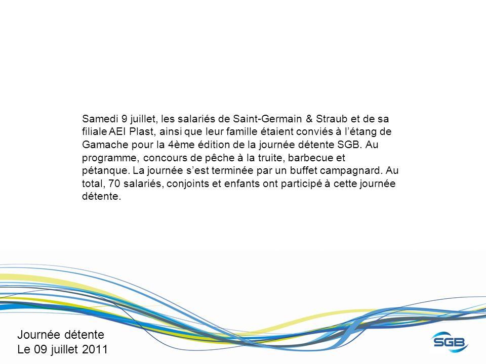 Journée détente Le 09 juillet 2011 Samedi 9 juillet, les salariés de Saint-Germain & Straub et de sa filiale AEI Plast, ainsi que leur famille étaient conviés à létang de Gamache pour la 4ème édition de la journée détente SGB.