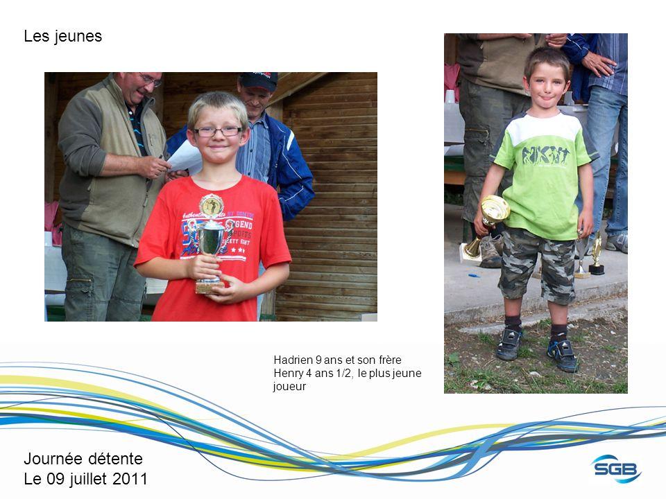 Journée détente Le 09 juillet 2011 Hadrien 9 ans et son frère Henry 4 ans 1/2, le plus jeune joueur Les jeunes
