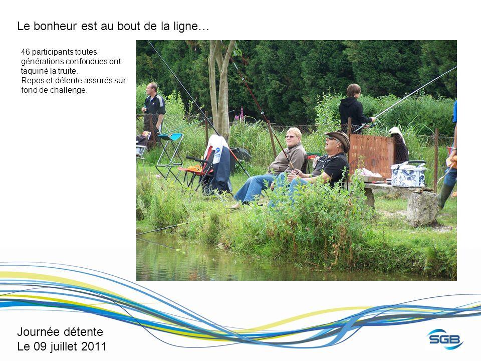 Journée détente Le 09 juillet 2011 Le bonheur est au bout de la ligne… 46 participants toutes générations confondues ont taquiné la truite. Repos et d