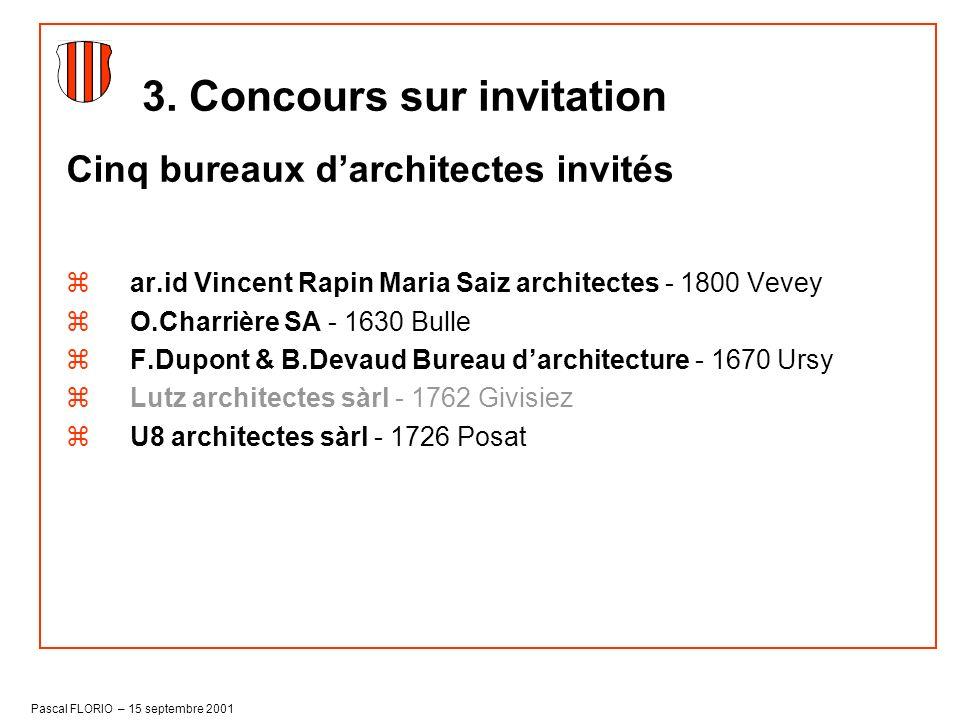 Pascal FLORIO – 15 septembre 2001 Cinq bureaux darchitectes invités zar.id Vincent Rapin Maria Saiz architectes - 1800 Vevey zO.Charrière SA - 1630 Bu