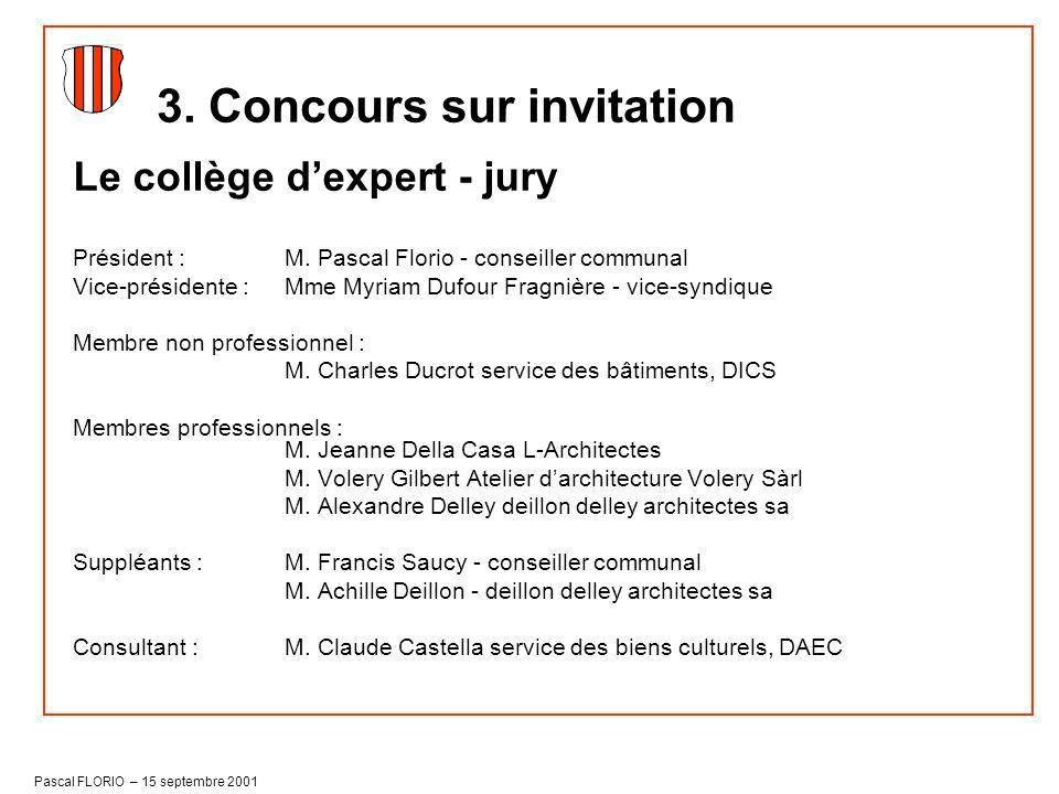 Pascal FLORIO – 15 septembre 2001 Le collège dexpert - jury Président : M. Pascal Florio - conseiller communal Vice-présidente : Mme Myriam Dufour Fra