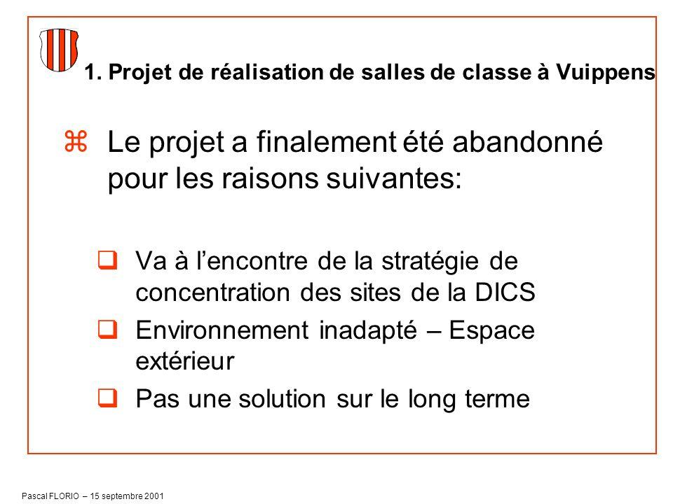 Pascal FLORIO – 15 septembre 2001 Le conseil communal a ensuite décidé de faire une étude globale des besoins en rénovation de nos bâtiments et de leur potentiel en matière de réalisation de salles de classe.
