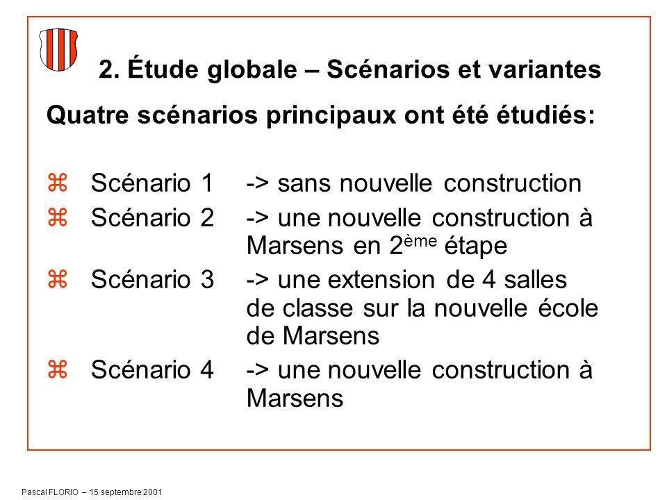 Pascal FLORIO – 15 septembre 2001 Quatre scénarios principaux ont été étudiés: zScénario 1-> sans nouvelle construction zScénario 2-> une nouvelle con