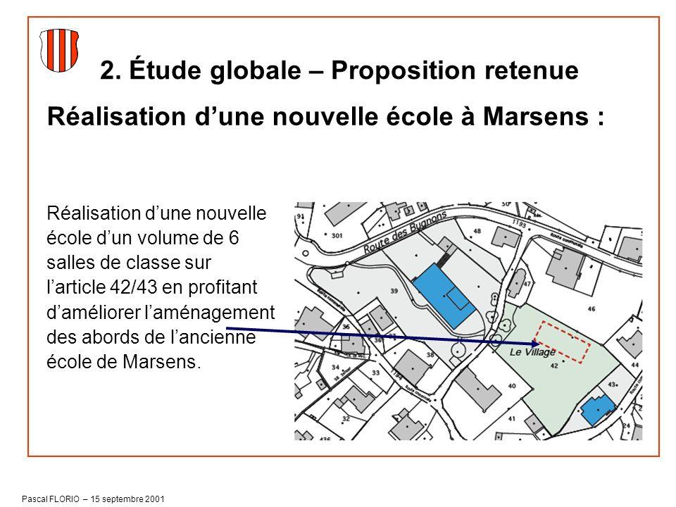 Pascal FLORIO – 15 septembre 2001 2. Étude globale – Proposition retenue Réalisation dune nouvelle école à Marsens : Réalisation dune nouvelle école d