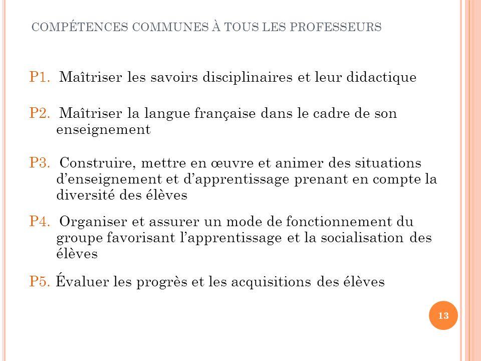 13 P1. Maîtriser les savoirs disciplinaires et leur didactique COMPÉTENCES COMMUNES À TOUS LES PROFESSEURS P2. Maîtriser la langue française dans le c