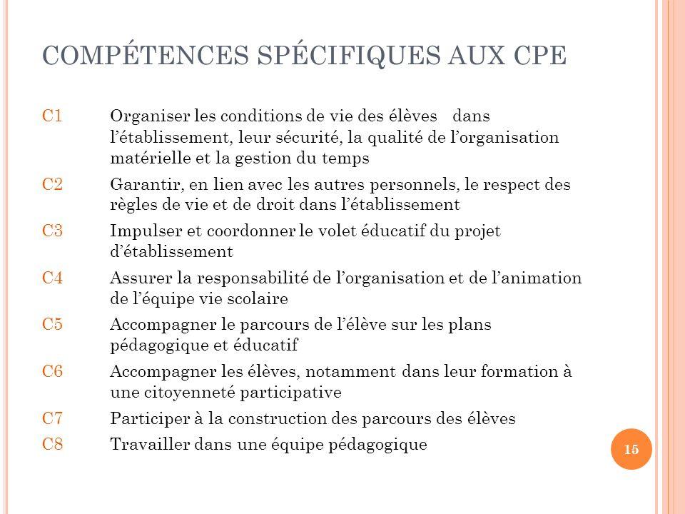 COMPÉTENCES SPÉCIFIQUES AUX CPE C1Organiser les conditions de vie des élèves dans létablissement, leur sécurité, la qualité de lorganisation matériell