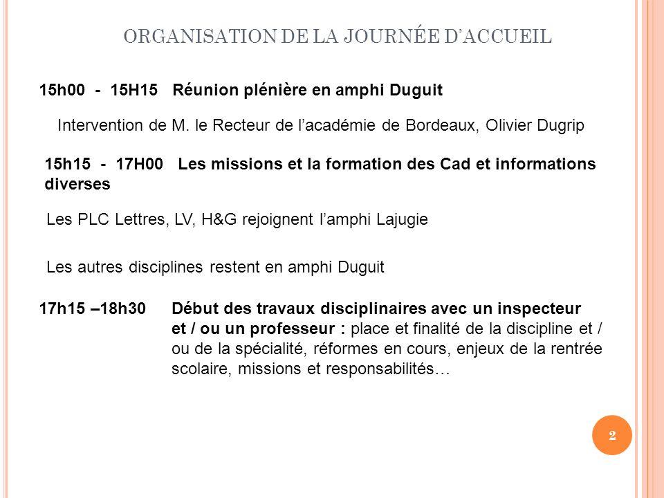 2 ORGANISATION DE LA JOURNÉE DACCUEIL Intervention de M. le Recteur de lacadémie de Bordeaux, Olivier Dugrip 15h00 - 15H15 Réunion plénière en amphi D
