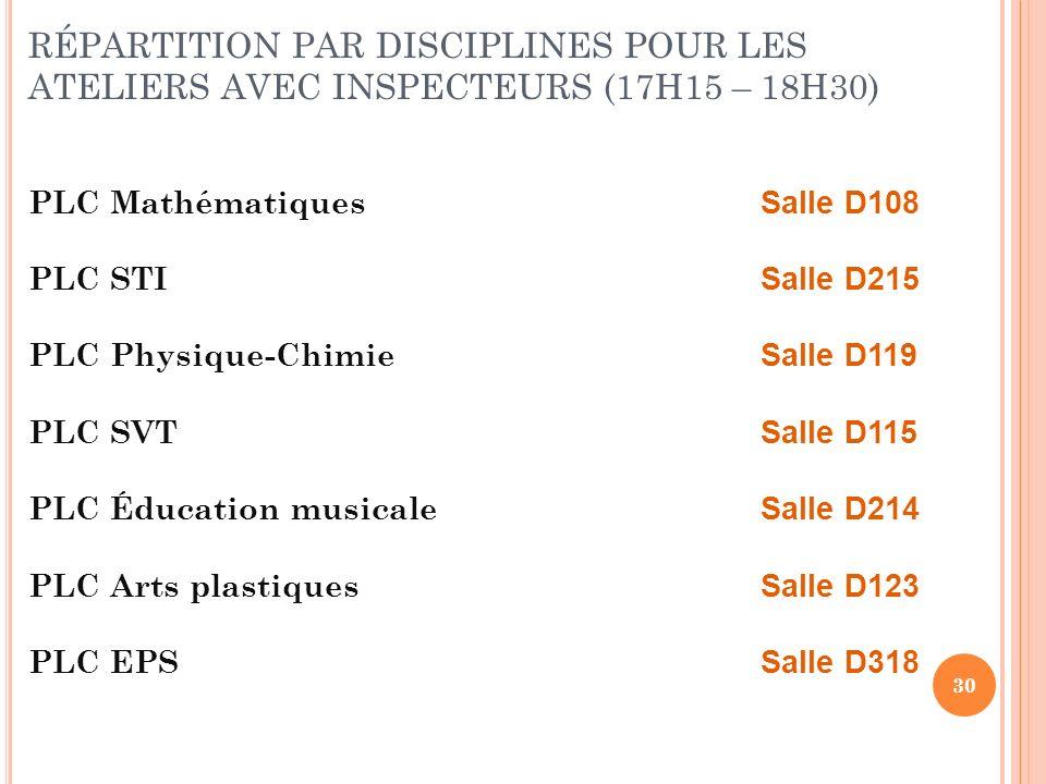 30 RÉPARTITION PAR DISCIPLINES POUR LES ATELIERS AVEC INSPECTEURS (17H15 – 18H30) PLC Mathématiques Salle D108 PLC STI Salle D215 PLC Physique-Chimie