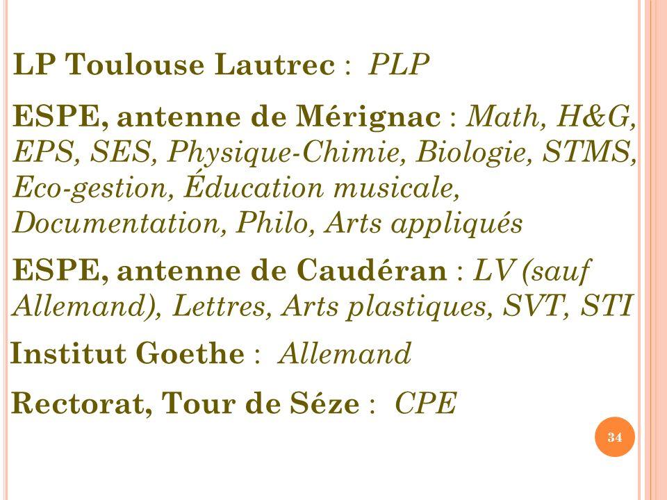 34 ESPE, antenne de Mérignac : Math, H&G, EPS, SES, Physique-Chimie, Biologie, STMS, Eco-gestion, Éducation musicale, Documentation, Philo, Arts appliqués ESPE, antenne de Caudéran : LV (sauf Allemand), Lettres, Arts plastiques, SVT, STI Institut Goethe : Allemand Rectorat, Tour de Séze : CPE LP Toulouse Lautrec : PLP