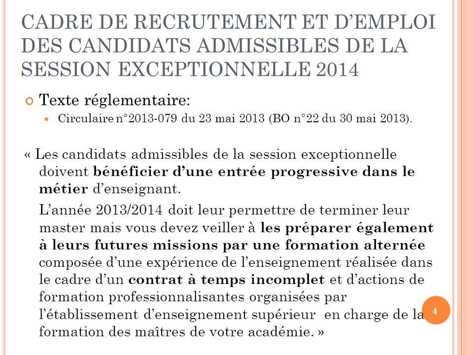 4 CADRE DE RECRUTEMENT ET DEMPLOI DES CANDIDATS ADMISSIBLES DE LA SESSION EXCEPTIONNELLE 2014 Texte réglementaire: Circulaire n°2013-079 du 23 mai 2013 (BO n°22 du 30 mai 2013).