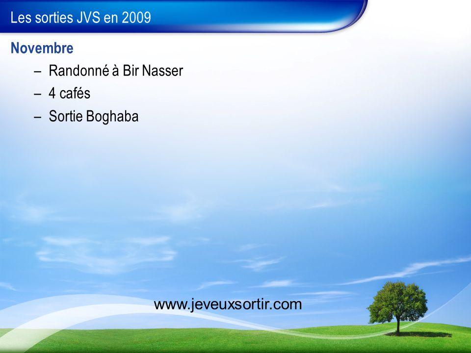 Les sorties JVS en 2009 Novembre –Randonné à Bir Nasser –4 cafés –Sortie Boghaba www.jeveuxsortir.com