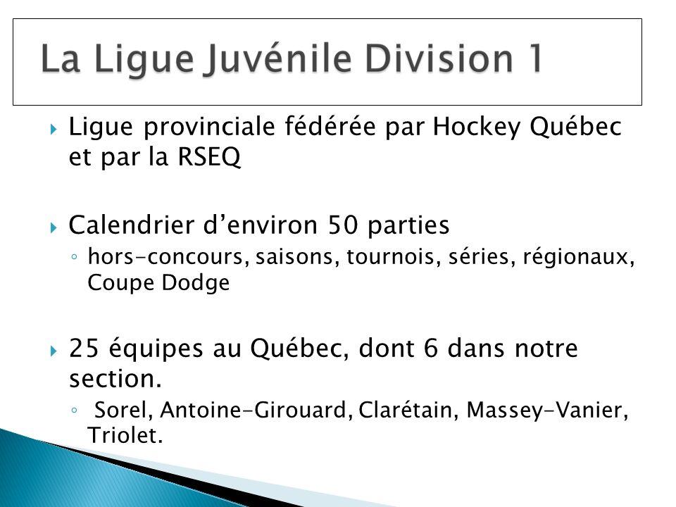 Ligue provinciale fédérée par Hockey Québec et par la RSEQ Calendrier denviron 50 parties hors-concours, saisons, tournois, séries, régionaux, Coupe Dodge 25 équipes au Québec, dont 6 dans notre section.