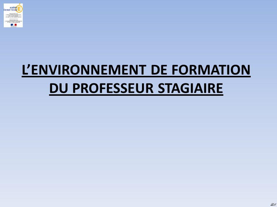 LENVIRONNEMENT DE FORMATION DU PROFESSEUR STAGIAIRE LM