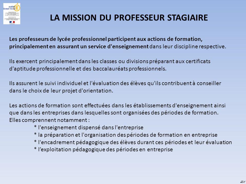 LM LA MISSION DU PROFESSEUR STAGIAIRE Les professeurs de lycée professionnel participent aux actions de formation, principalement en assurant un servi