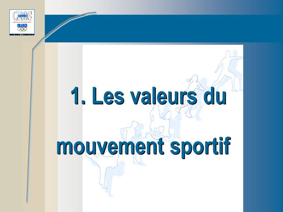 Les valeurs du mouvement sportif lien social Veiller à ce que le sport conserve sa valeur de lien social.