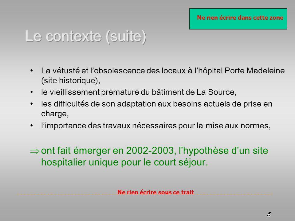 Ne rien écrire dans cette zone Ne rien écrire sous ce trait 5 La vétusté et lobsolescence des locaux à lhôpital Porte Madeleine (site historique), le