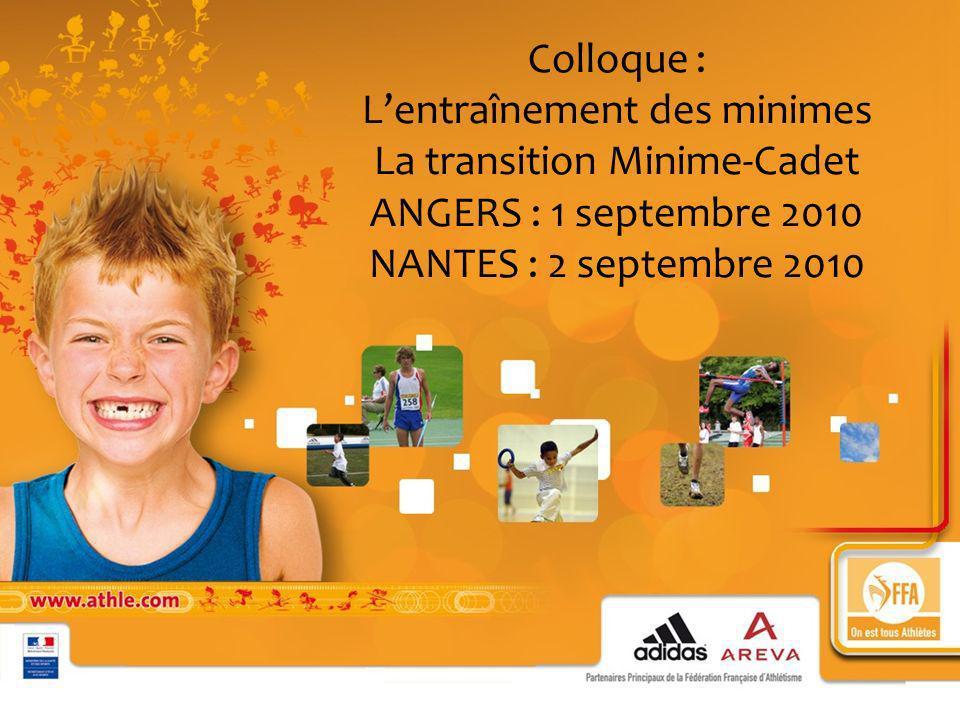 Colloque : Lentraînement des minimes La transition Minime-Cadet ANGERS : 1 septembre 2010 NANTES : 2 septembre 2010