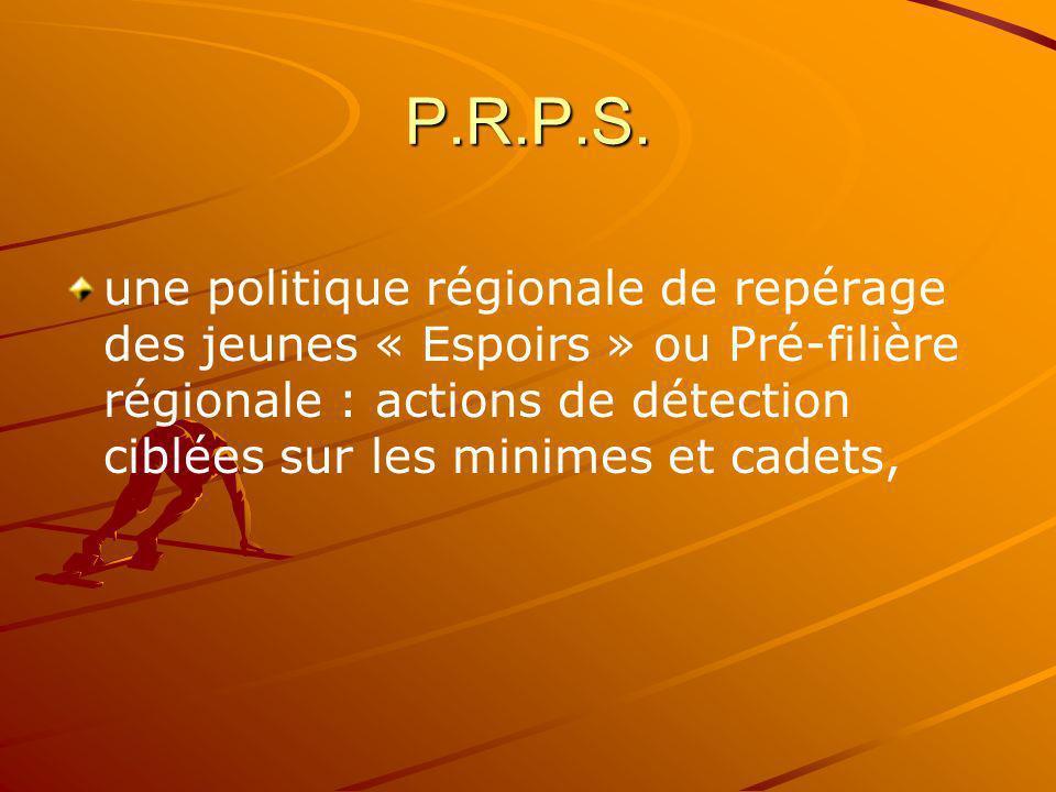 P.R.P.S. une politique régionale de repérage des jeunes « Espoirs » ou Pré-filière régionale : actions de détection ciblées sur les minimes et cadets,