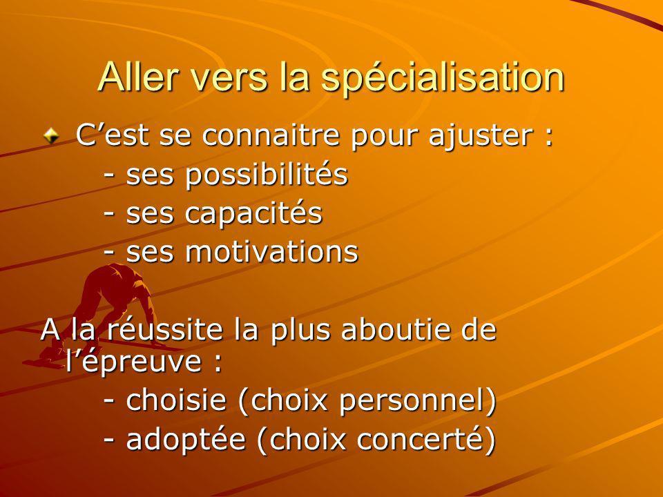 Aller vers la spécialisation Cest se connaitre pour ajuster : Cest se connaitre pour ajuster : - ses possibilités - ses possibilités - ses capacités -