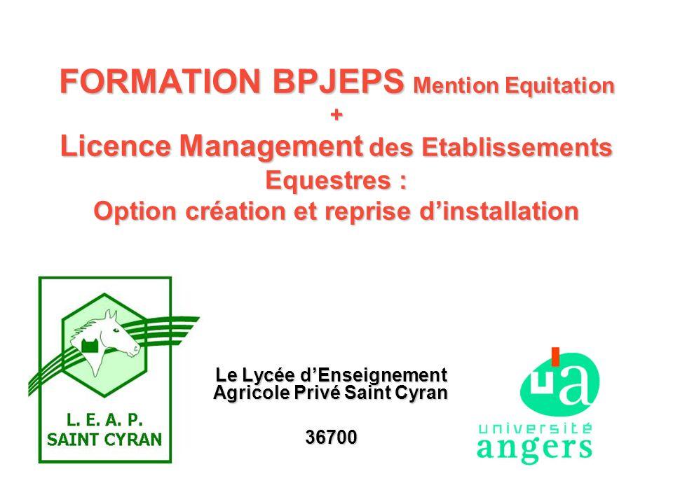 FORMATION BPJEPS Mention Equitation + Licence Management des Etablissements Equestres : Option création et reprise dinstallation Le Lycée dEnseignemen