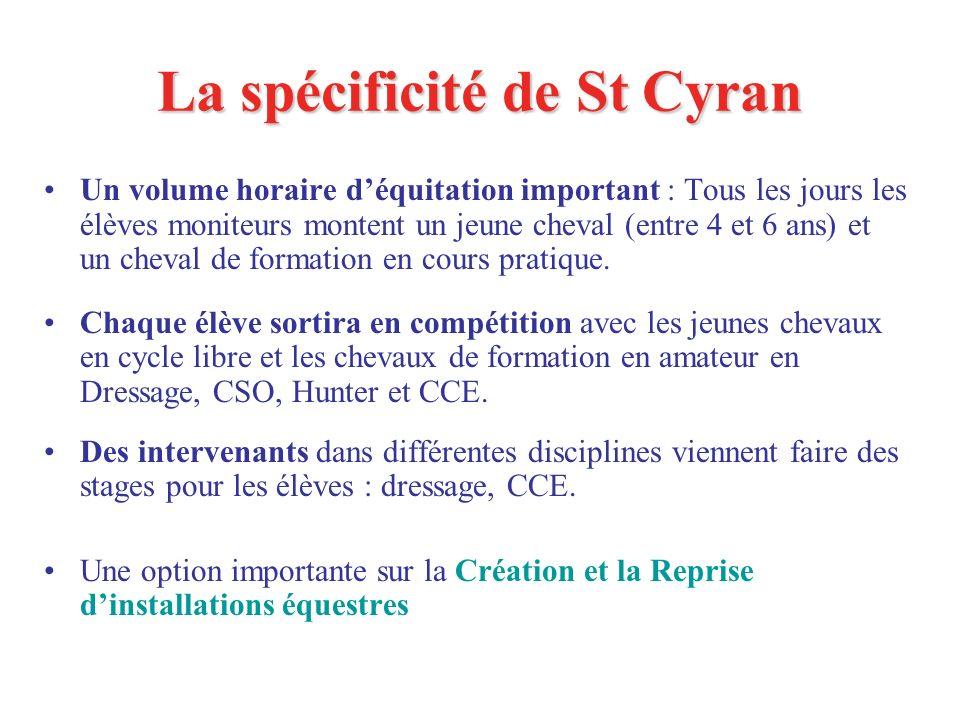 La spécificité de St Cyran Un volume horaire déquitation important : Tous les jours les élèves moniteurs montent un jeune cheval (entre 4 et 6 ans) et