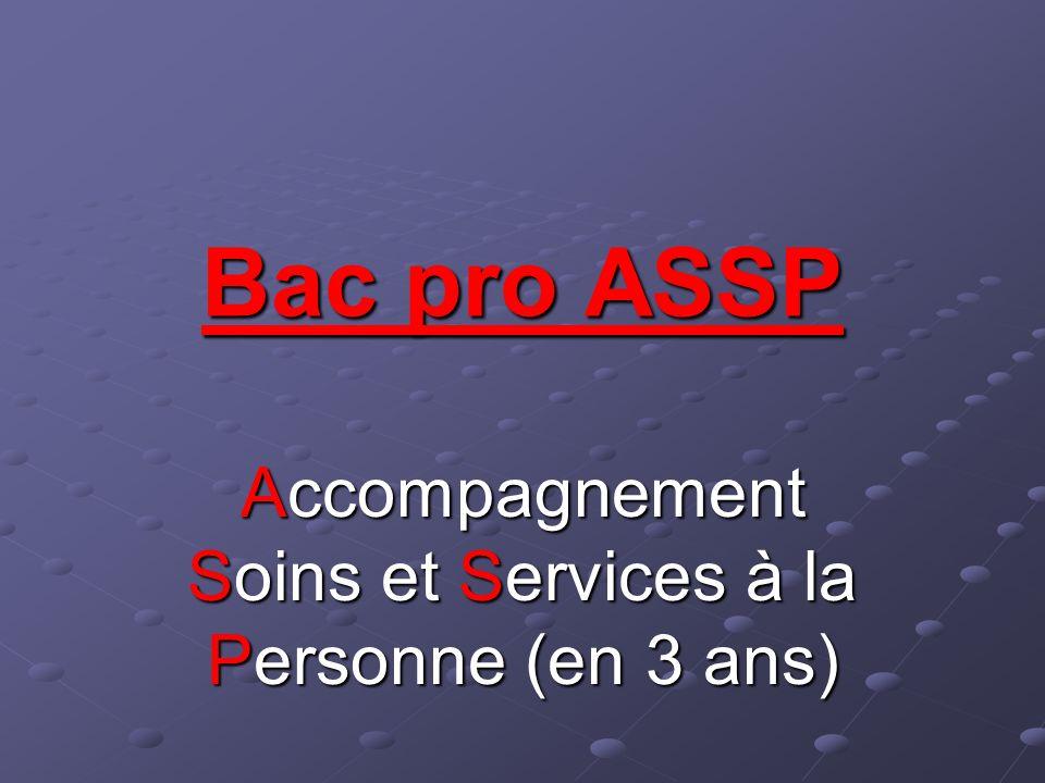 Bac pro ASSP Accompagnement Soins et Services à la Personne (en 3 ans)