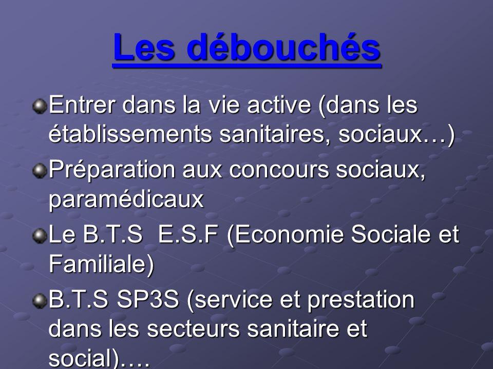 Les débouchés Entrer dans la vie active (dans les établissements sanitaires, sociaux…) Préparation aux concours sociaux, paramédicaux Le B.T.S E.S.F (