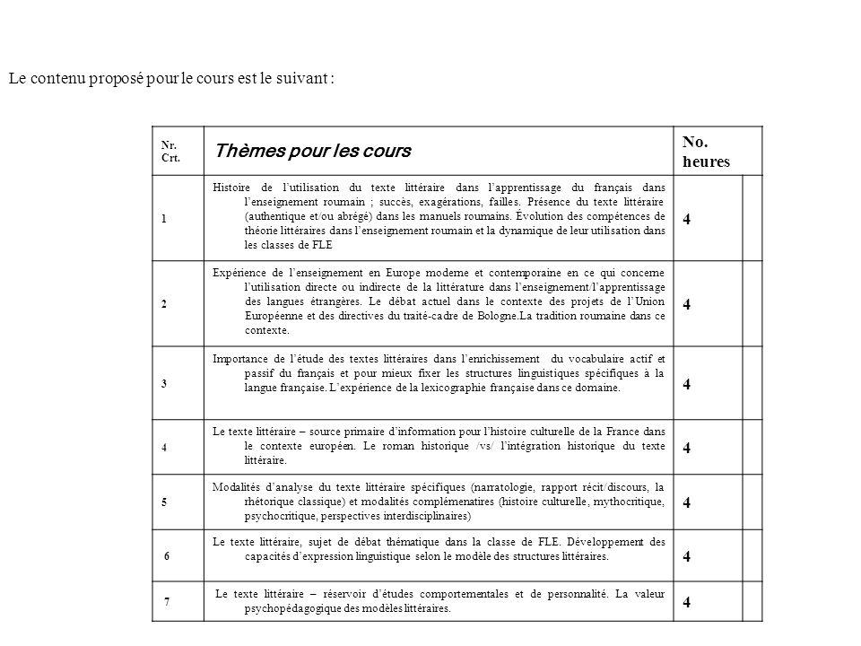 Le contenu proposé pour le cours est le suivant : Nr. Crt. Thèmes pour les cours No. heures 1 Histoire de lutilisation du texte littéraire dans lappre