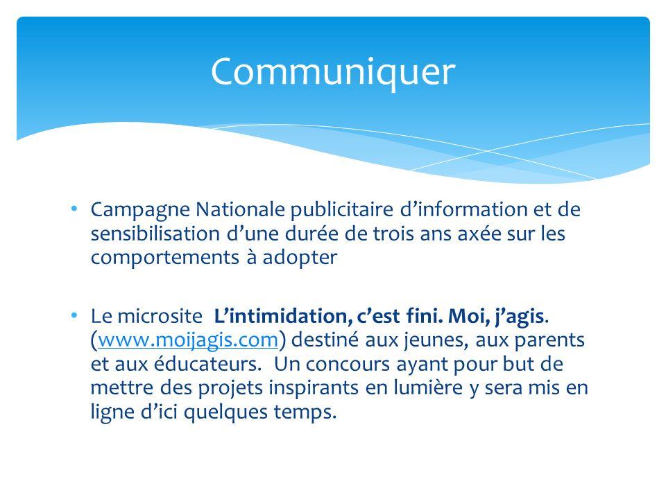 Campagne Nationale publicitaire dinformation et de sensibilisation dune durée de trois ans axée sur les comportements à adopter Le microsite Lintimidation, cest fini.