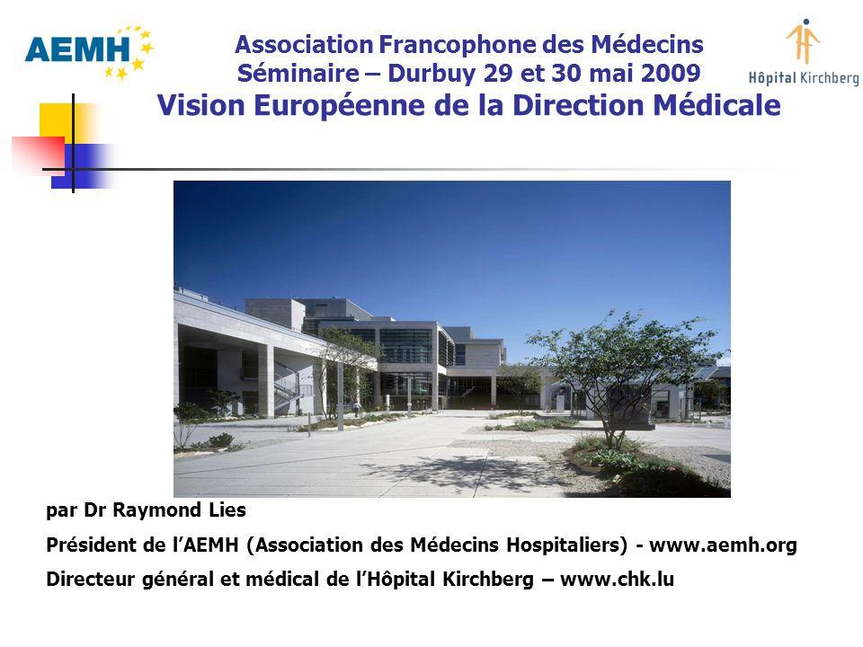 par Dr Raymond Lies Président de lAEMH (Association des Médecins Hospitaliers) - www.aemh.org Directeur général et médical de lHôpital Kirchberg – www
