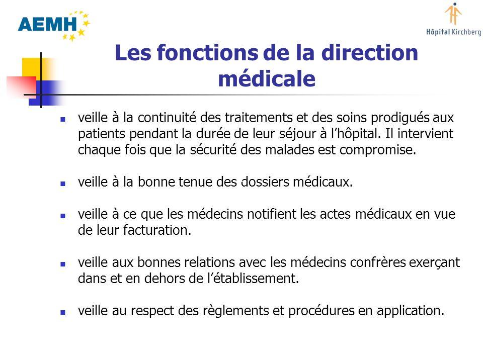 Les fonctions de la direction médicale veille à la continuité des traitements et des soins prodigués aux patients pendant la durée de leur séjour à lh