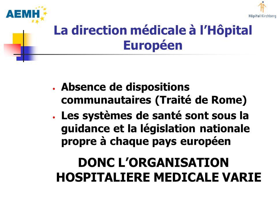 La direction médicale à lHôpital Européen Absence de dispositions communautaires (Traité de Rome) Les systèmes de santé sont sous la guidance et la lé