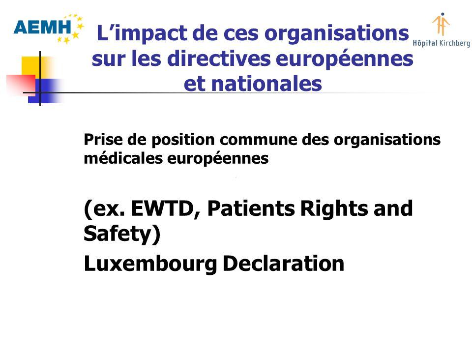 Prise de position commune des organisations médicales européennes (ex. EWTD, Patients Rights and Safety) Luxembourg Declaration Limpact de ces organis