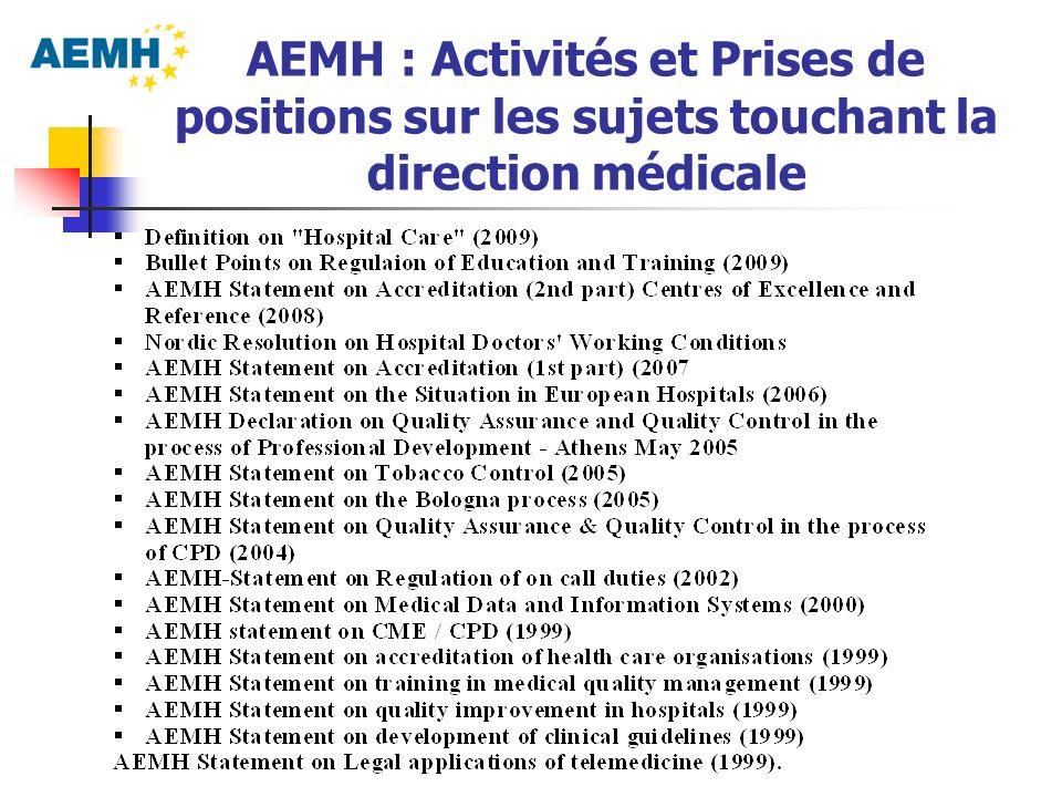 AEMH : Activités et Prises de positions sur les sujets touchant la direction médicale