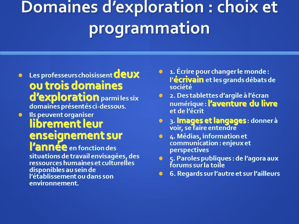 Domaines dexploration : choix et programmation Les professeurs choisissent deux ou trois domaines dexploration parmi les six domaines présentés ci-dessous.
