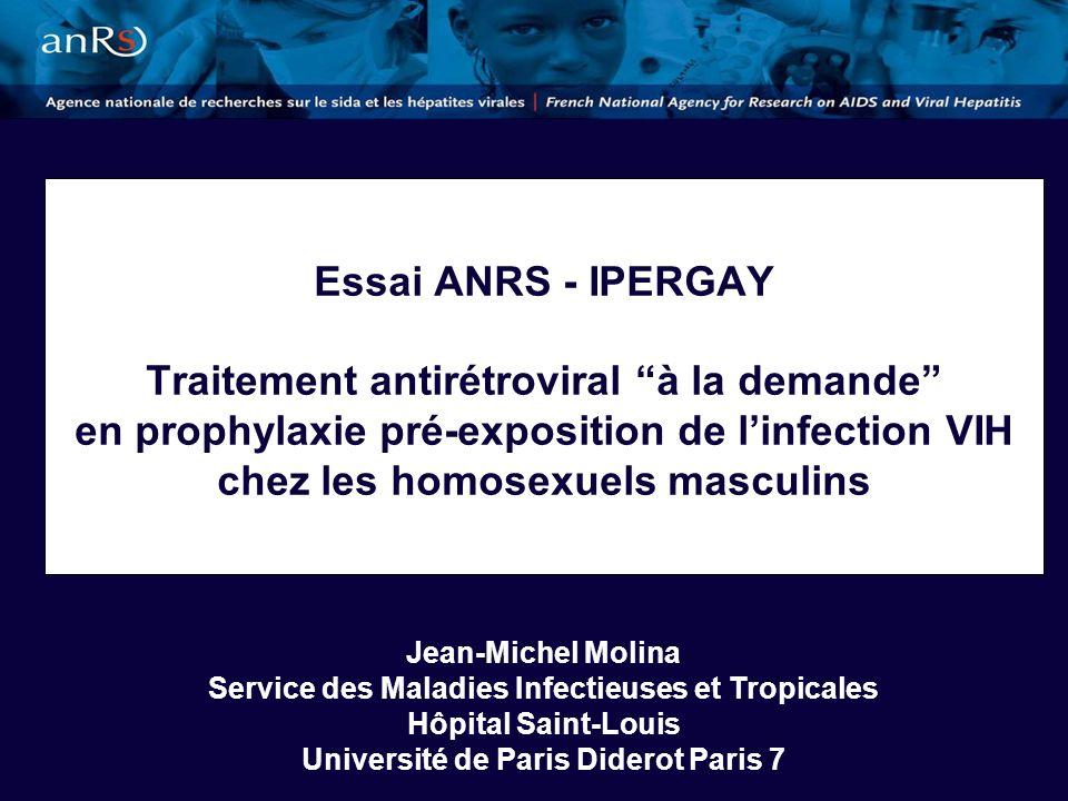 Nouvelles Découvertes dInfections par le VIH en France en 2009 6700 nouvelles découvertes dinfection VIH, 5 fois plus que le nombre de cas de SIDA Incidence globale de 17/100.000, en baisse depuis 2003 48% des nouvelles contaminations chez les homosexuels masculins avec une incidence de 1% qui reste stable (200 fois supérieure) Etude Prevagay : prévalence de 17,7% dinfection VIH avec une incidence > 5%, et une méconnaissance de la séropositivité chez 20% des personnes testées insuffisance des stratégies de prévention actuelles Problème de santé publique chez les gays et insuffisance des stratégies de prévention actuelles Cazein et al, BEH 30 Novembre 2010 et Le Vu S et al, Lancet Infect Dis 2010