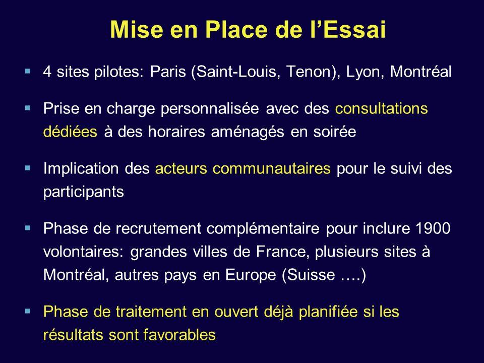 Mise en Place de lEssai 4 sites pilotes: Paris (Saint-Louis, Tenon), Lyon, Montréal Prise en charge personnalisée avec des consultations dédiées à des