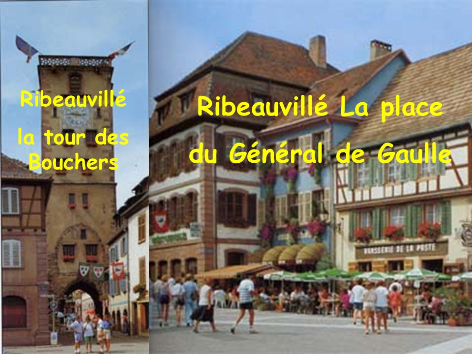 Obernai Place du Marche et les flèches de léglise Saint-Pierre et Saint-Paul