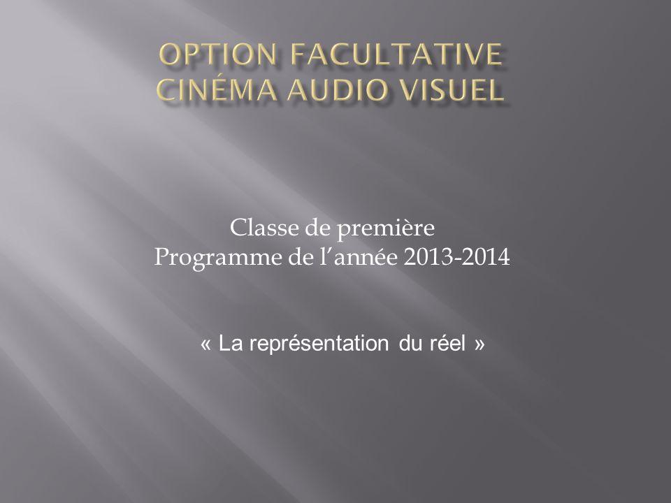 Classe de première Programme de lannée 2013-2014 « La représentation du réel »
