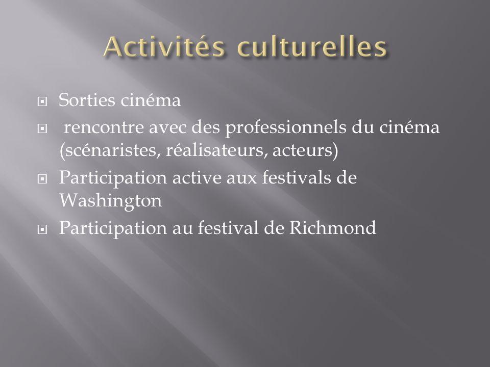 Sorties cinéma rencontre avec des professionnels du cinéma (scénaristes, réalisateurs, acteurs) Participation active aux festivals de Washington Participation au festival de Richmond
