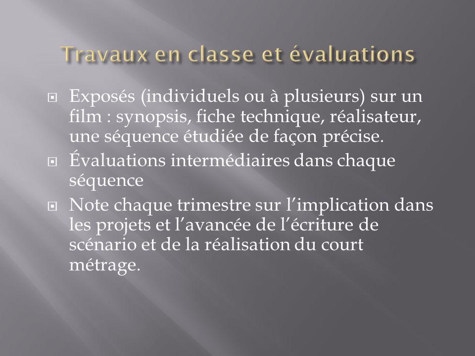 Exposés (individuels ou à plusieurs) sur un film : synopsis, fiche technique, réalisateur, une séquence étudiée de façon précise.