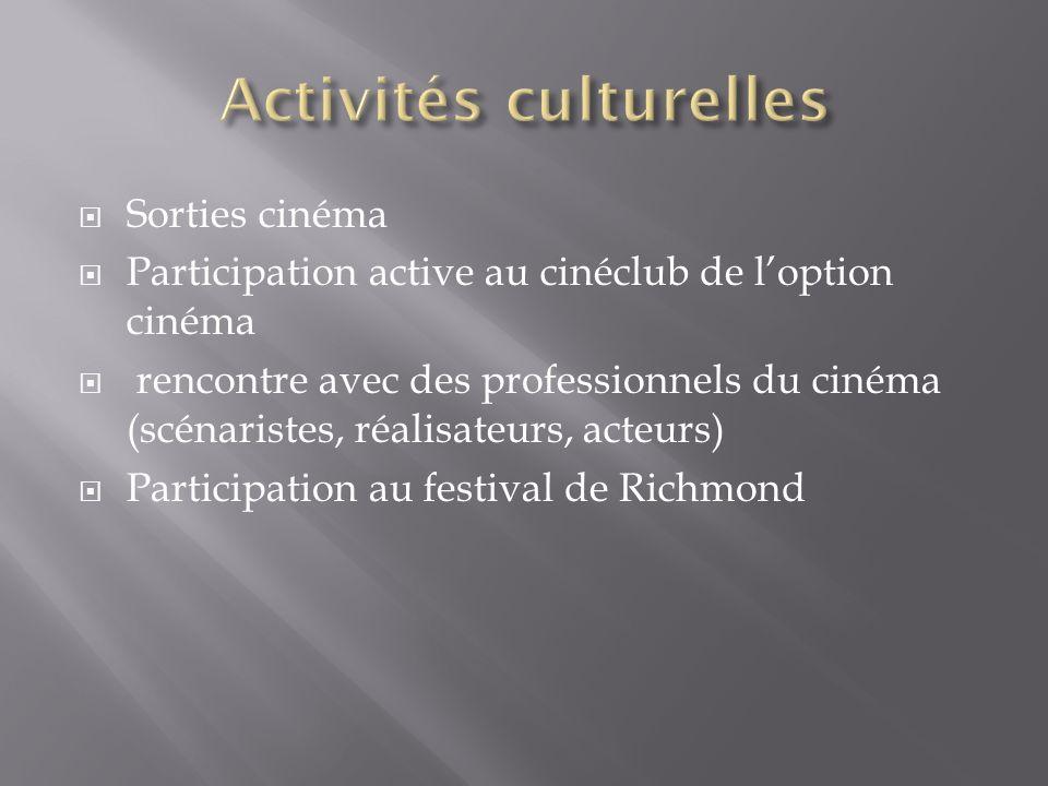 Sorties cinéma Participation active au cinéclub de loption cinéma rencontre avec des professionnels du cinéma (scénaristes, réalisateurs, acteurs) Participation au festival de Richmond